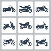 Постер, плакат: Vector Isolated Motorcycles Icons Set