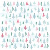 Christmas tree vector seamless wrapping paper texture.