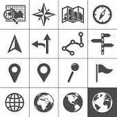 Cartography and topography icon set. Maps, location and navigation icons. Vector illustration. Simpl