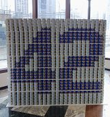 Jackie 42 Robinson food sculpture presented at  Canstruction competition in New York