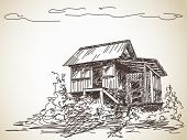 Hand drawn countryside wooden house