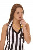 Woman Referee Blow Whistle Look Side