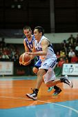 KAPOSVAR, HUNGARY �¢�?�? OCTOBER 26: Kornel Kiss (in white) in action at a Hungarian Championshi