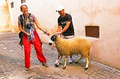 FES, MAROCCO - October 15 2013 : Man and woman with their sheep on Eid al-Adha. The festival is cele