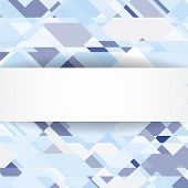 Blue geometric background with white banner
