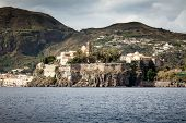 An image of the active volcano islands at Lipari Italy
