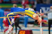 GOTHENBURG, SWEDEN - MARCH 1 Alexandru Tufa (ROM) competes in the qualification of the men's high jump event during the European Athletics Indoor Championship on March 1, 2013 in Gothenburg, Sweden.