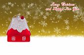 Merry Christmas And Happy New Year Gold Background With Christmas Toy In The Form Of A Small House
