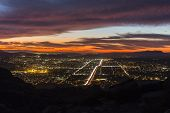 After dusk night view of Simi Valley near Los Angeles, California.