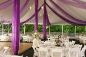 foto of tent  - Ready for an outdoor wedding reception under a tent - JPG