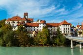 view on river in romantic Bavarian city Fussen, Germany