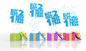 Birthday Present Boxes With Buy Two Get One Free Symbol