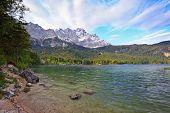 Eibsee lake and Bavaria Alps