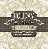 Beige Christmas Background With Snowflakes And Label For Text,  Vector