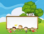Illustration of the kids playing in front of the big empty signboard
