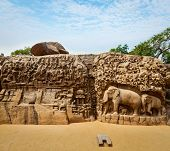 Descent of the Ganges and Arjuna's Penance ancient stone sculpture - monument at Mahabalipuram, Tamil Nadu, India