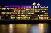 BBC Scotland's headquarters at night
