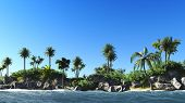 Hawaiian paradise -tropical island at sun set
