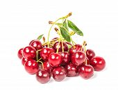 Sweet Juicy Cherry On White Background