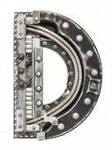 Industrial metal alphabet letter D