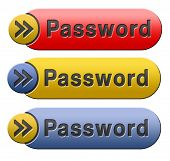 Password button data protection by using strong safe passwords recover and change for security and s