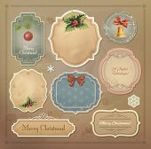Christmas vintage labels set. Vector eps10.