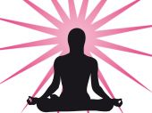 picture of yoga silhouette  - Yoga expression in the sun as symbol of spiruality - JPG