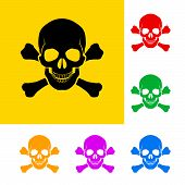 pic of skull bones  - Danger sign of skull and cross bones with color variations - JPG