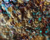 stock photo of iron pyrite  - Abstract background from a  mineral. Macro. Extreme closeup
