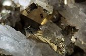 Crystal, Gold, Bronze, Copper, Iron. Macro. Extreme Closeup