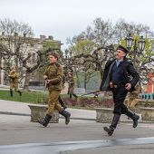 Odessa, Ukraine - April 10: Members Of The Military History Of The Club German And Russian Soldiers