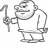 image of thug  - Black and White Cartoon Illustration of Thug or Ruffian with Crowbar for Coloring Book - JPG