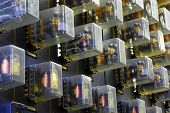 picture of relay  - The panel of electric relays in production processes - JPG