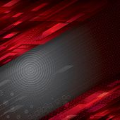 Digital abstract red technology background, vector.