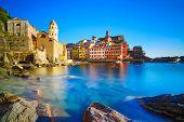 Vernazza Village, Curch, Rocks And Sea Harbor On Sunset. Cinque Terre, Ligury, Italy