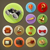 stock photo of universal sign  - Universal long shadow retro icon set - JPG