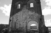 stock photo of blast-furnace  - The remains of the ruins of an old blast furnace - JPG