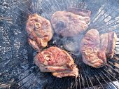 Pork Chops Hot Charcoal Barbeque Grilling Smoke
