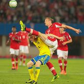 VIENNA,  AUSTRIA - JUNE  7 Marc Janko (#21 Austria) and Rasmus Elm (#6 Sweden) fight for the ball du