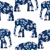 Cartoon Bright Decorative Elephant Seamless Pattern And Seamless Pattern In Swatch Menu
