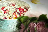 Water In Bowl Mixed With Perfume And Flowers Corolla For Songkran Festival In Thailand
