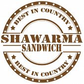 pic of shawarma  - Rubber stamp with text Shawarma - JPG