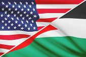 Series Of Ruffled Flags. Usa And State Of Palestine.