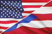 Series Of Ruffled Flags. Usa And Commonwealth Of Puerto Rico.