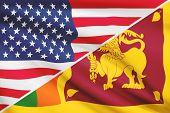 Series Of Ruffled Flags. Usa And Democratic Socialist Republic Of Sri Lanka.