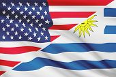 Series Of Ruffled Flags. Usa And Oriental Republic Of Uruguay.