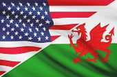 Series Of Ruffled Flags. Usa And Wales - Cymru.