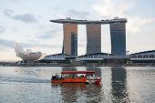 SINGAPORE - NOVEMBER 07, 2012: View of the famous Marina Bay Sands - one of the most luxurious hotels in the world. The hotel has the largest and most expensive casino in the world.