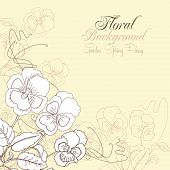 Floral Background with pansies and peony