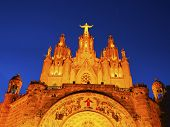 stock photo of sacred heart jesus  - Temple of the Sacred Heart of Jesus on Tibidabo Mountain in Barcelona Catalonia Spain - JPG